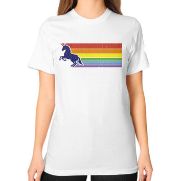80s Vintage Unicorn Rainbow (distressed look) Unisex T-Shirt (on woman)