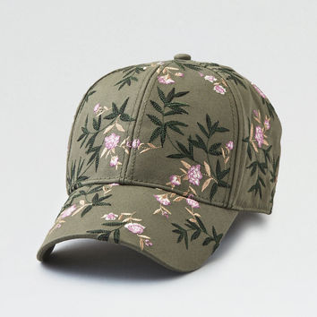 AEO Floral Embroidered Baseball Hat, Olive