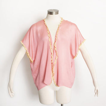 Vintage 1920s Bed Jacket - Candy Pink Silk Beige Lace Top Lingerie - Small - Large