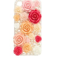 Rosette & Pearl Phone Case - 5 by Charlotte Russe - Pink Combo