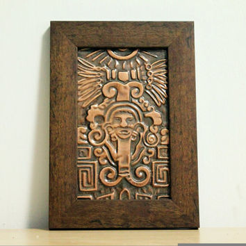 Aztec Art, Mayan Art, Copper Wall Hanging, Copper Wall Art, Metal Wall Art, Wall Decor.
