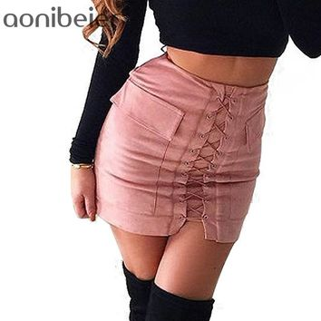Aonibeier Women Autumn Lace up Pencil Skirt Winter Fashion Cross High Waist