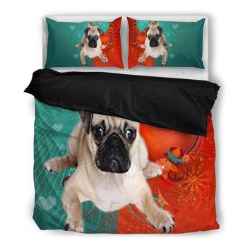 Valentine's Day Special-Cute Pug Print Bedding Set-Free Shipping