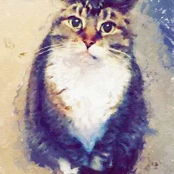 Custom cat portrait watercolor Art Cat lover gifts Personalized cat gift for pet lover portrait pet custom portrait