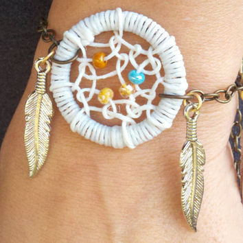 White Dream Catcher Bracelet with Feathers by MidnightsMojo