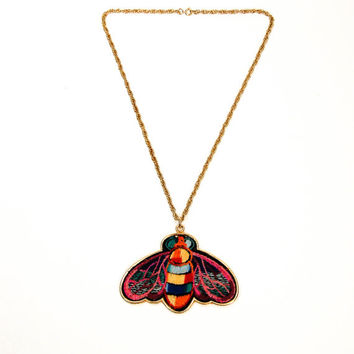 Massive Butterfly Necklace, Embroidered, Colorful, Groovy, 1970s, Statement Piece, Pendant, Hippie Chic, BJ Designs, Vintage