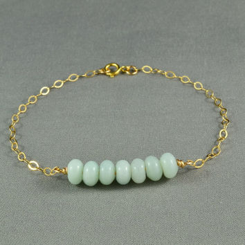 Beautiful Amazonite Beaded Bracelet, 14K Gold Filled Chain, Pretty, Eye Catching, Everyday Wear Jewelry