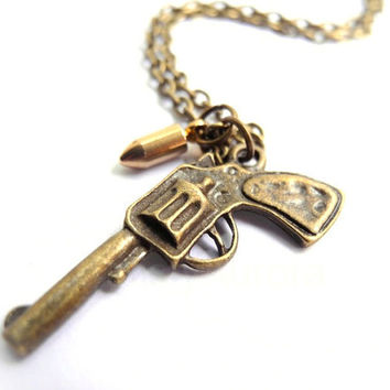 Pistol Necklace - Gun Bullet Necklace - Bronze Brass - War Peace - Wild West Free Shipping Etsy