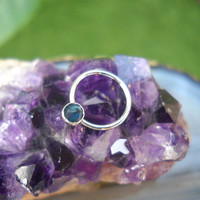 Paua Shell Septum Ring/Nose ring Sterling Silver Handcrafted