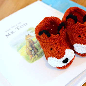 Knit Baby Booties- Mr. Tod Fox Baby Shoes- Baby Booties- Knit Booties. Size 3-6 Months.