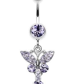 Sparkling Butterfly Glass-Gem Belly Button Ring