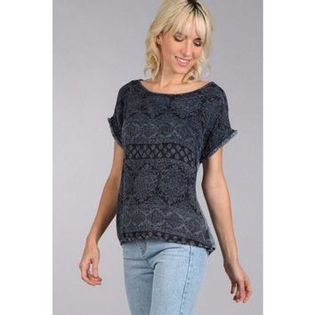 Blu Pepper Navy Printed Top