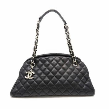 Auth Chanel Mademoiselle Chain Shoulder Bag Caviar Leather Black 0241
