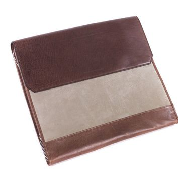 Brunello Cucinelli Men's Beige and Brown Leather Document Holder