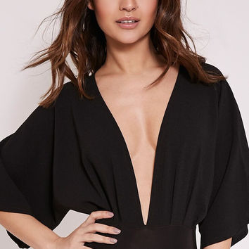 Deep V Neck Half Sleeve Rompers  11187