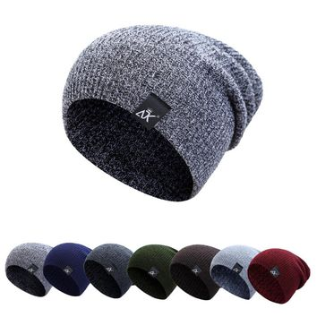 Winter Thick Wool Knitted Unisex Caps Baggy Beanies Women Men Soft Slouch Stocking Hat Skullies Beanies Bonnet Ski Hiphop Hat