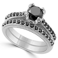 1.95 Carat Black Diamond Engagement Ring Set Vintage Style