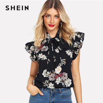 SHEIN Navy Floral Print Ruffle Tie Neck Flutter Sleeve Blouse Elegant Workwear Tops And Blouses Women Summer Stand Collar Tops