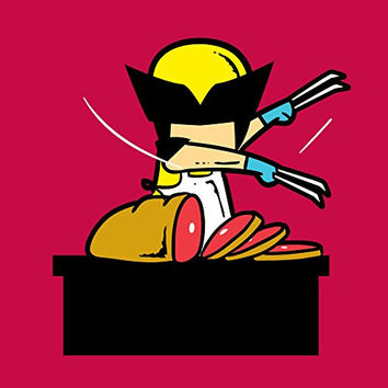 'Part-Time JOB Meat Shop' Funny Parody Super Hero Cutting Meat 18x18 - Vinyl Print Poster
