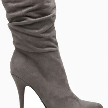 Grey Faux Suede Pointed Toe Slouch Booties @ Cicihot Boots Catalog:women's winter boots,leather thigh high boots,black platform knee high boots,over the knee boots,Go Go boots,cowgirl boots,gladiator boots,womens dress boots,skirt boots.