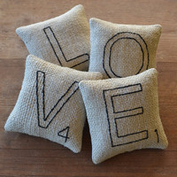 Scrabble Letter LOVE Pillows - Bowl Fillers - Tucks - Ornies - Burlap - Valentines Day - Wedding - Home Decor - Black Ticking
