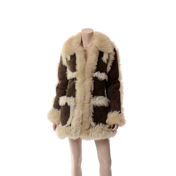 Vintage 70s Brown Suede Shearling Coat 1970s Distressed Genuine Sheepskin Leather Sherpa Princess Coat Outerwear Jacket / XS