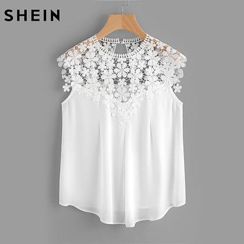 SHEIN Keyhole Back Daisy Lace Shoulder Shell Top Summer Blouses for Women White Cap Sleeve Elegant Blouse