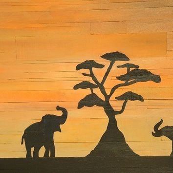 African Serengeti Sunset, Elephants Wood Wall Art, Wall Hanging