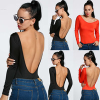 New Sexy Women Long Sleeve Backless Jumpsuit Bodysuit Stretch Leotard Top Blouse