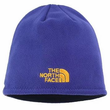 The North Face 2018 winter new men and women wool hat earmuffs knit hat Royal blue