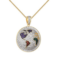 Iced Out World Pendant Iced Out Simulated Diamonds Stainless Steel Necklace 24""