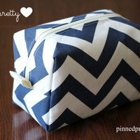 Large Makeup and Cosmetic Bag in Navy Chevron