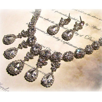 Wedding jewelry set, Bridal bib necklace earrings, vintage inspired rhinestone crystal statement necklace jewelry set