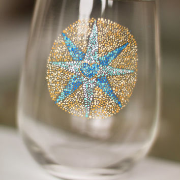 Nautical Compass Wine Glass: Stemless Mosaic Wine Glass or Tumbler