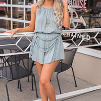 Around The World Braided Rope And Mesh Detail Cinched Waist Romper (Slate)