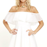 Flutter On By Ivory Off-the-Shoulder Skater Dress
