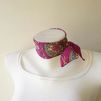 Magenta Pink Floral Print Mini Skinny Scarf, Cotton Neck Tie, Headband, Choker Scarf, Thin Scarf with Angled Ends, Spring Summer Accessories