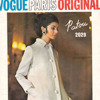 60s Vintage Vogue Paris Original Sewing Pattern 2029 Patou Dress & Coat Size 10  Bust 32 1/2