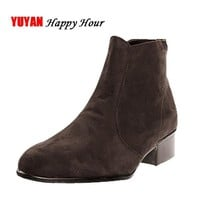 New 2017 Autumn and Early Winter Shoes Men Chelsea Boots Low Square Heel Fashion Men's
