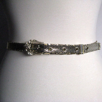 Vintage 1970s Belt Whiting and Davis 70s Gold Mesh Belt Ornate Buckle Disco Belt