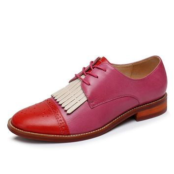 Women natrual sheepskin leather yinzo flat oxford shoes us 9 vintage carving handmade brown red pink oxford shoes for women