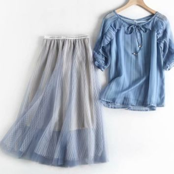 The new style of women's summer dress consists of two pieces of lace chiffon blouse and half skirt