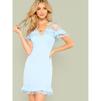 Lace Insert Ruffle Trim Wrap Dress