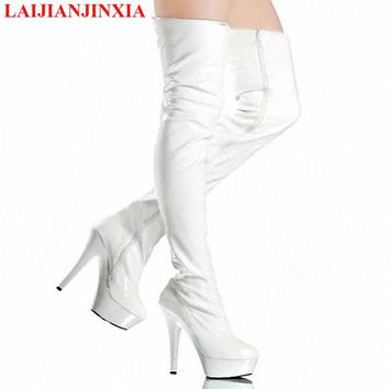 LAIJIANJINXIA Fashion Black Extreme Long Booties Women Celebrity Shoes Over The Knee Boots Sexy Stiletto Heels Crotch High Boots