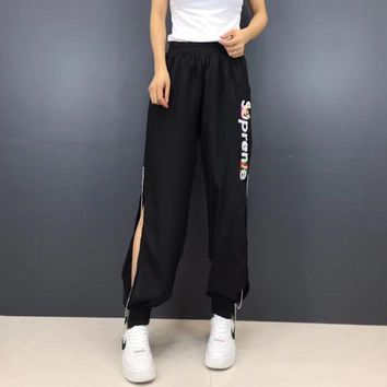 """Supreme"" Women Casual Fashion Hollow Letter Ultra Thin Leisure Pants Trousers Sweatpants"