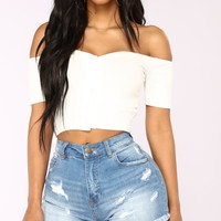 Give My Love Button Top - White