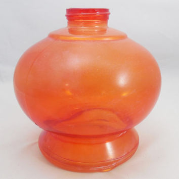 "Red Oil Lamp Base or Jar 5 3/4"" Tall, Vintage Oil Lamp Base, Red Glass Jar for Oil or Kerosene Lamps, 1 5/8"" Opening"