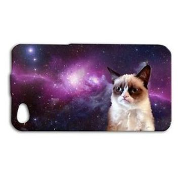 Funny Grumpy Cat Space Cute Purple Phone Case iPhone 4 4s 5 5c 5s 6 6s Plus + SE
