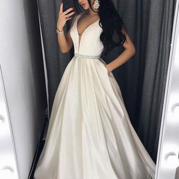 Long Ivory White Prom Dress, White Evening Gown Dress