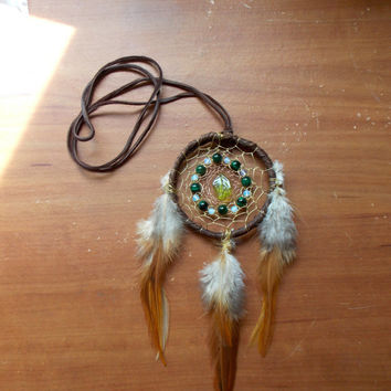 Fairy Dream Catcher for Car or Necklace with Tiger's Eye, Opalite & Glass Peridot Leaf